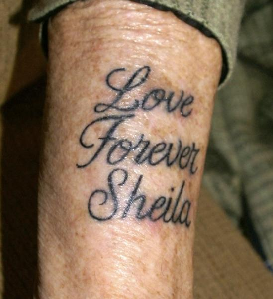 "Nothing to do with my ""Tramp Stamp"", this is my late Father's tribute to his (late) wife of 60 years..."