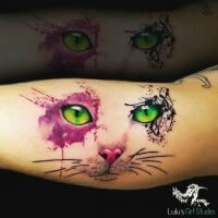 Cat-Eyes-Watercolor-Tattoo-Miami FL