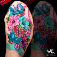 Flowers-and-Blue-Birds-Tattoo-square